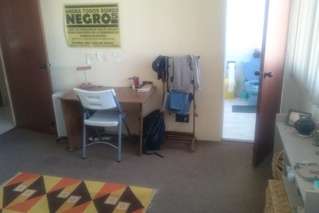 desk and bathroom