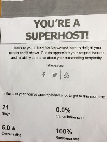 thanks to my guests comments I've been chosen as Super Host