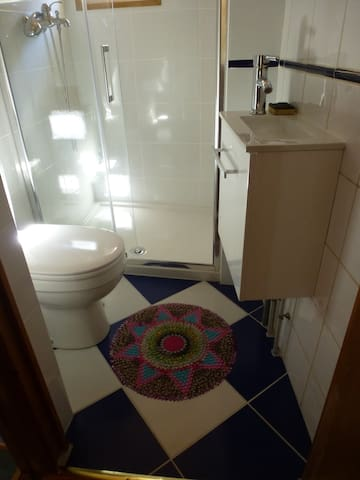 Une salle de bains fonctionnelle avec grande douche confortable toute neuve