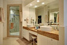 double vanity and steam shower