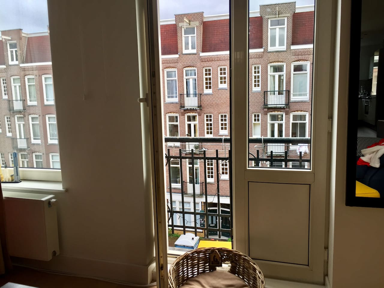 French balcony with Amsterdamic view from the living room