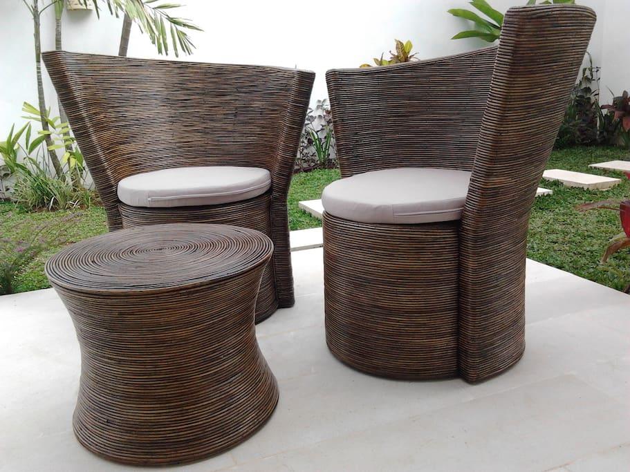 sofa rottan naturel