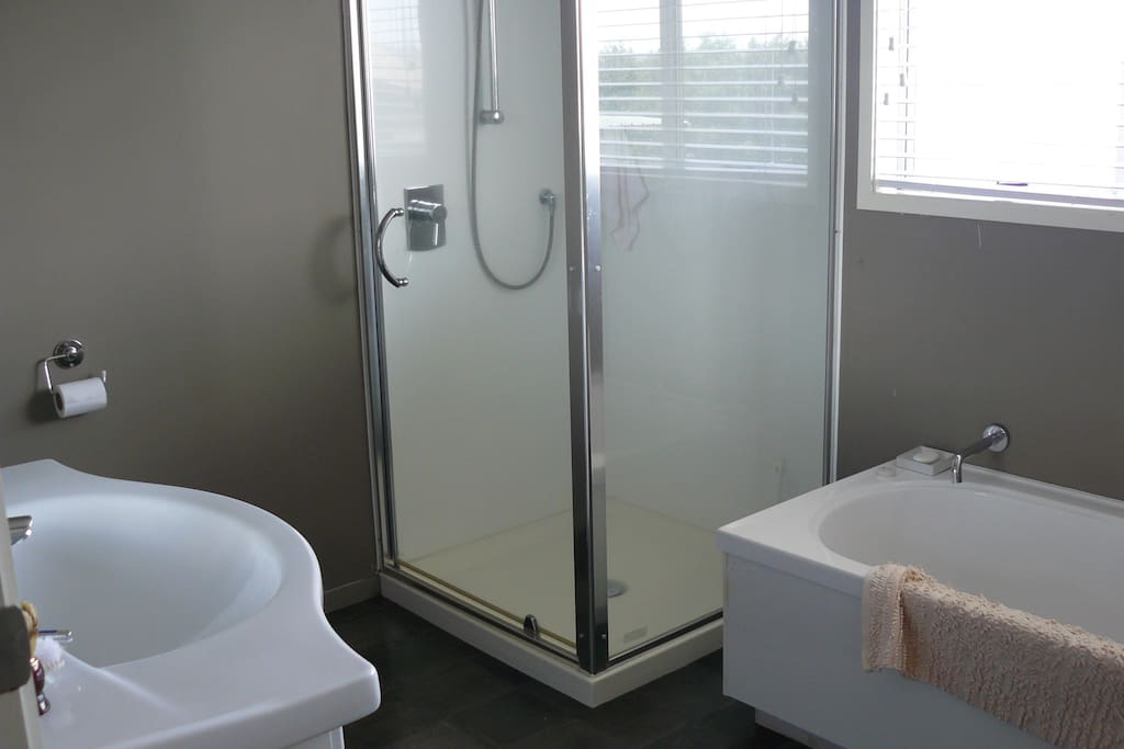 Separate bathroom for guests. Heated towel rail.