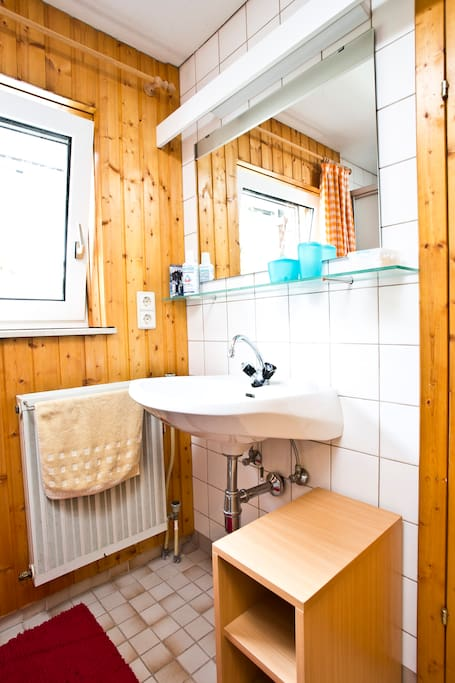 Guest bathroom (upstairs): incl. towels, shower, closet space & toilet