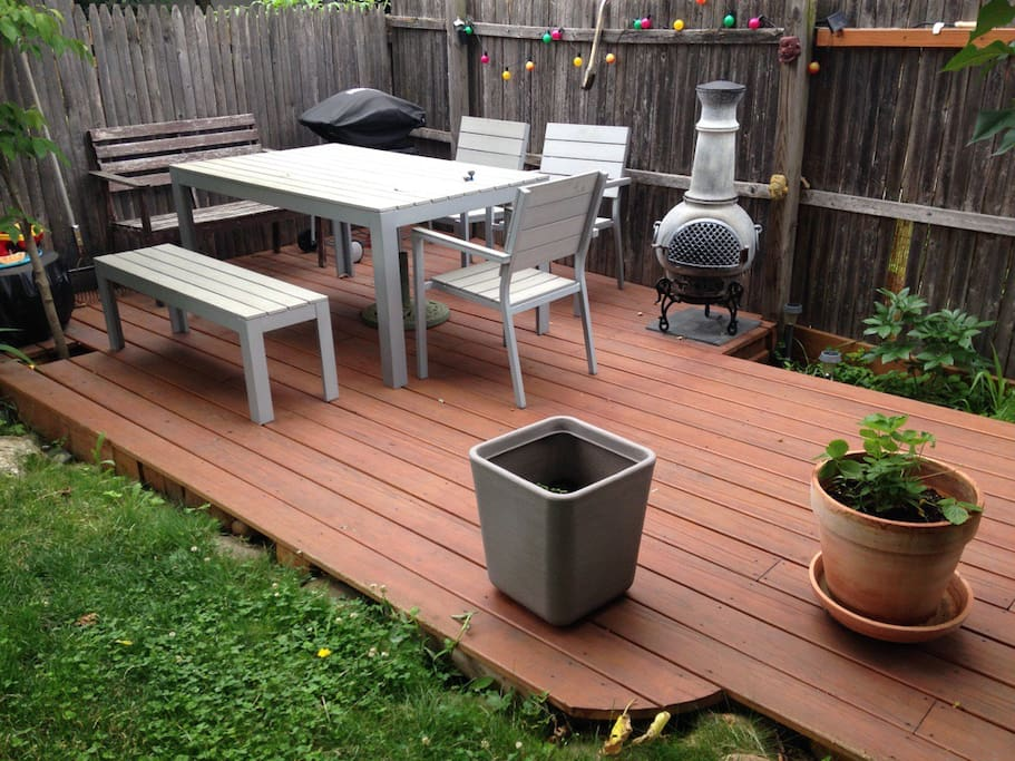 The real gem of the apartment once spring arrives: the secluded deck and lawn, which is the heart of the garden area. Note the south-western style fire pit, and the gas fired barbecue.