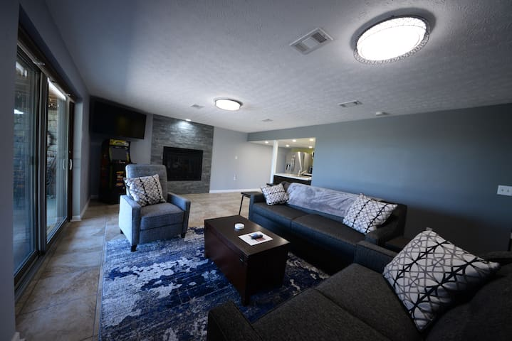 Lower Level Living Room with walkout to pool area