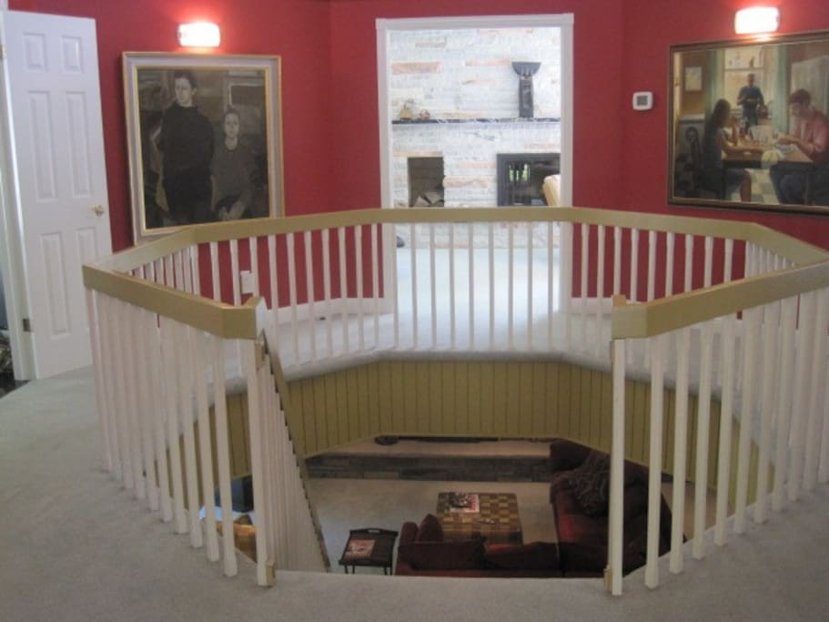 Foyer with staircase to lower level