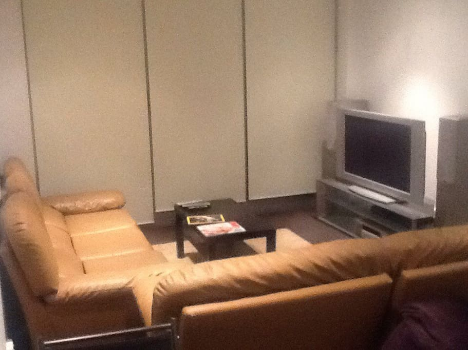 """Living room with air-condition/heater TV plasma 60"""" DVD, home theatre."""
