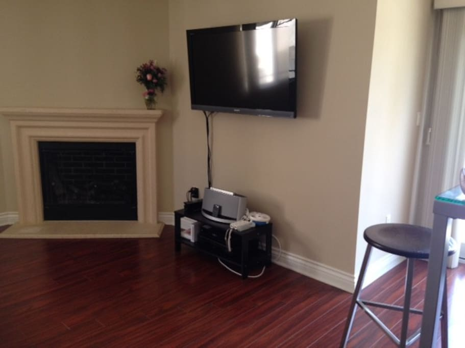 Light-up fireplace. Bose System and Flat screen TV