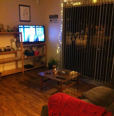 entertainment center and side patio door