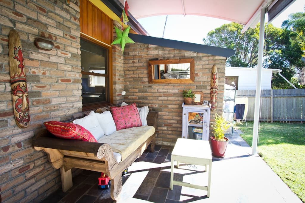 A comfy Bali lounge for chilling out on in the outdoor room