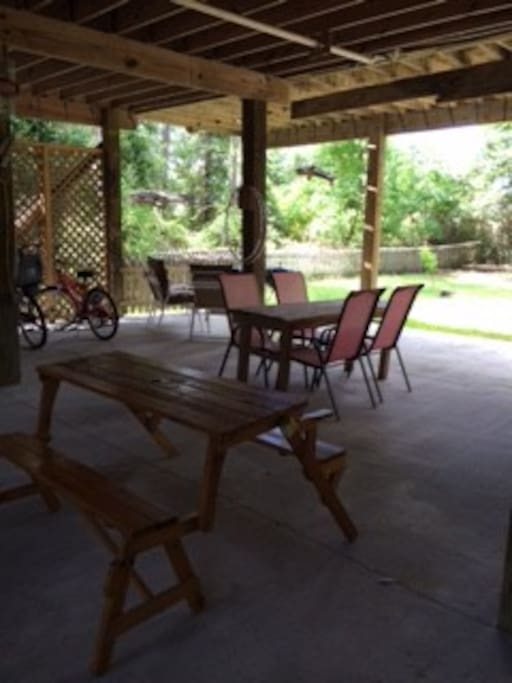 Underneath the duplex is a great hangout area!!