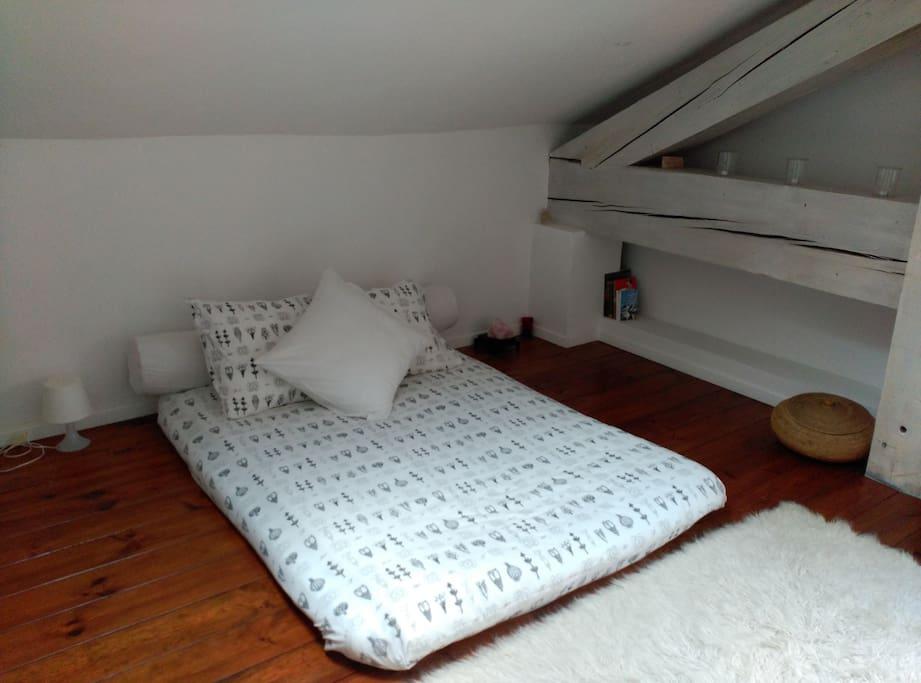 Chambre avec futon 1.40m (lit japonais)