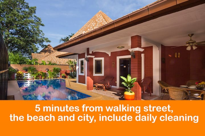 "5 minutes from  "" Walking street"" and Beach ★★★★★"