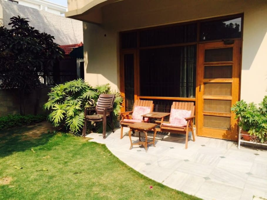 Just outside your room. Perfect location to enjoy morning Tea/Coffee