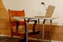 Wifi provided, and a funky desk to send emails or get work done!