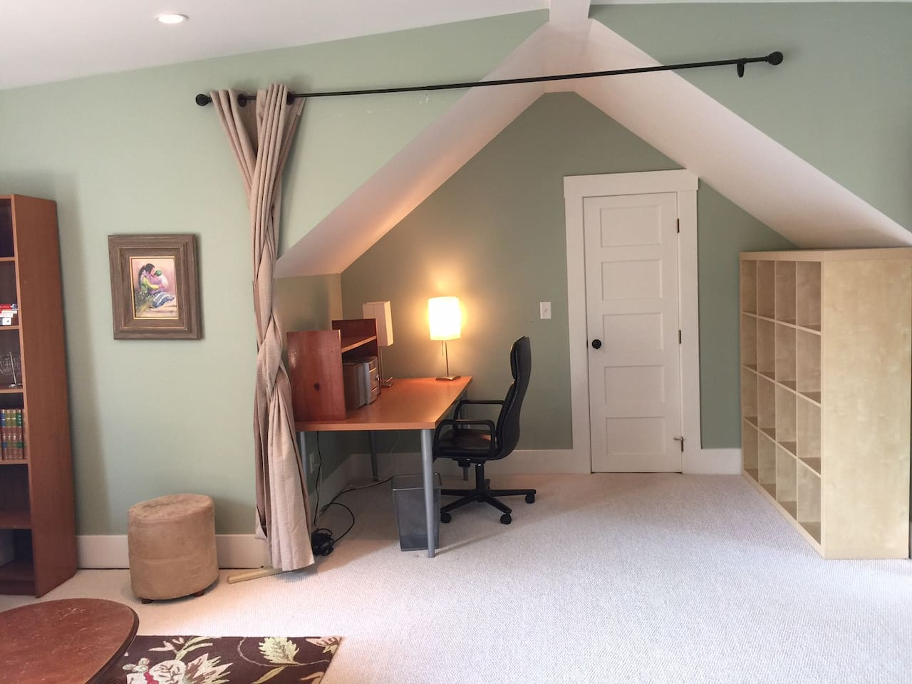 Study nook with desk and storage in Loft + Door to WIC