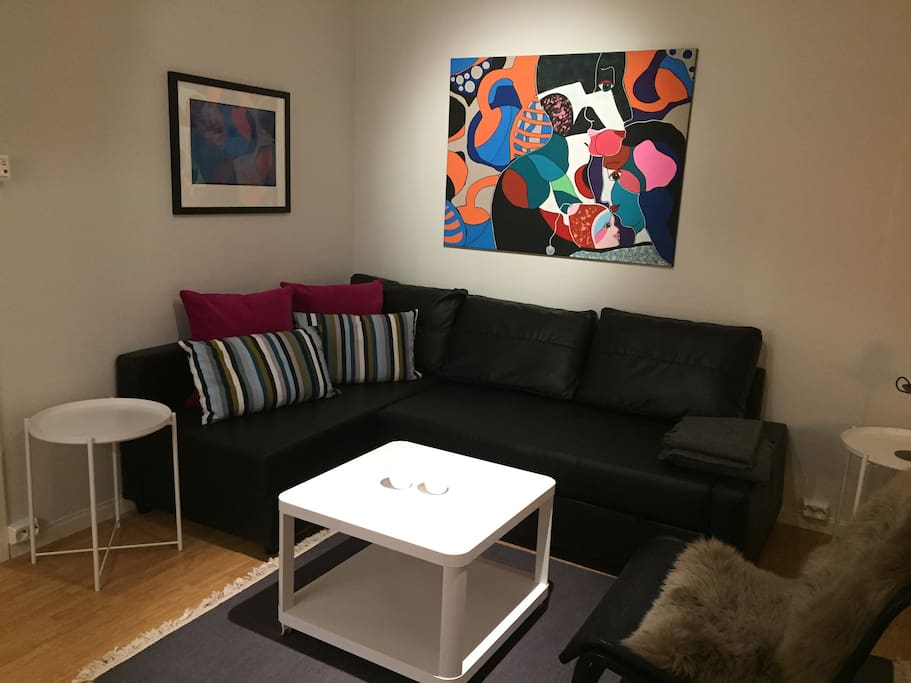 Living room with double sohva bed.