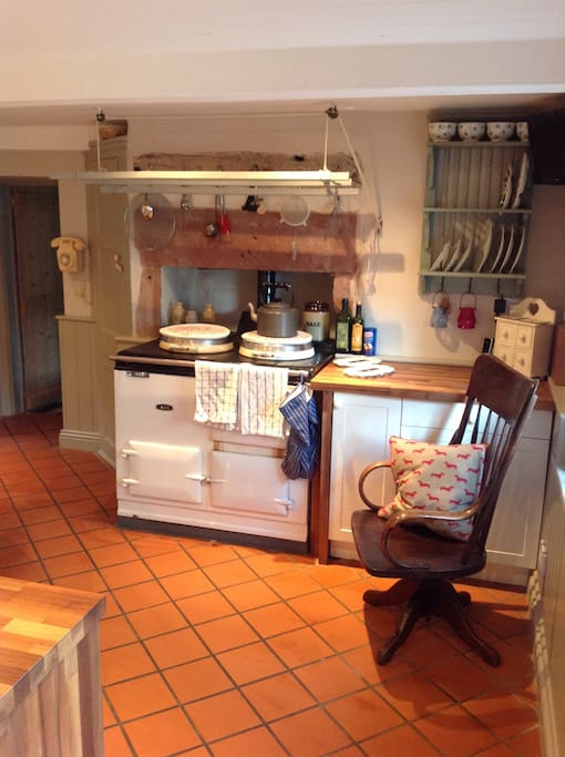 Kitchen with Aga ( it's always hot!)