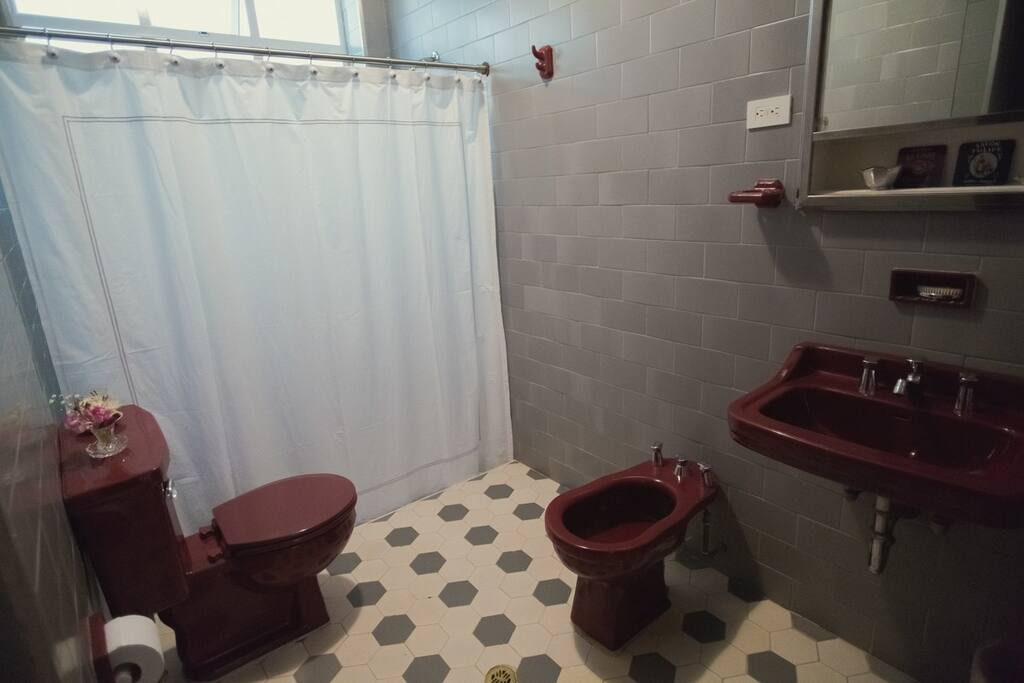 Full bathroom located down stairs