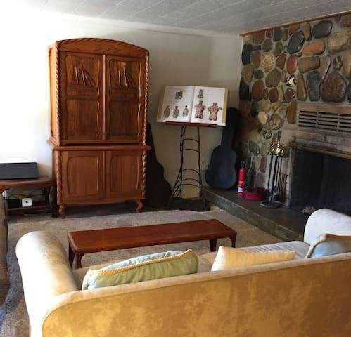 Relax in an intimate setting with fireplace to the right.