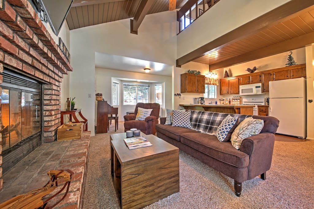 Enjoy the open floor layout with the high beamed tongue and groove ceilings.