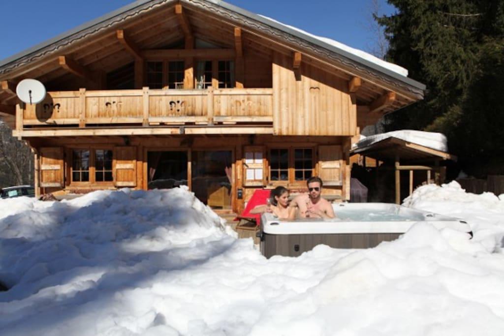 Chalet en hiver, à 2 km des pistes de ski