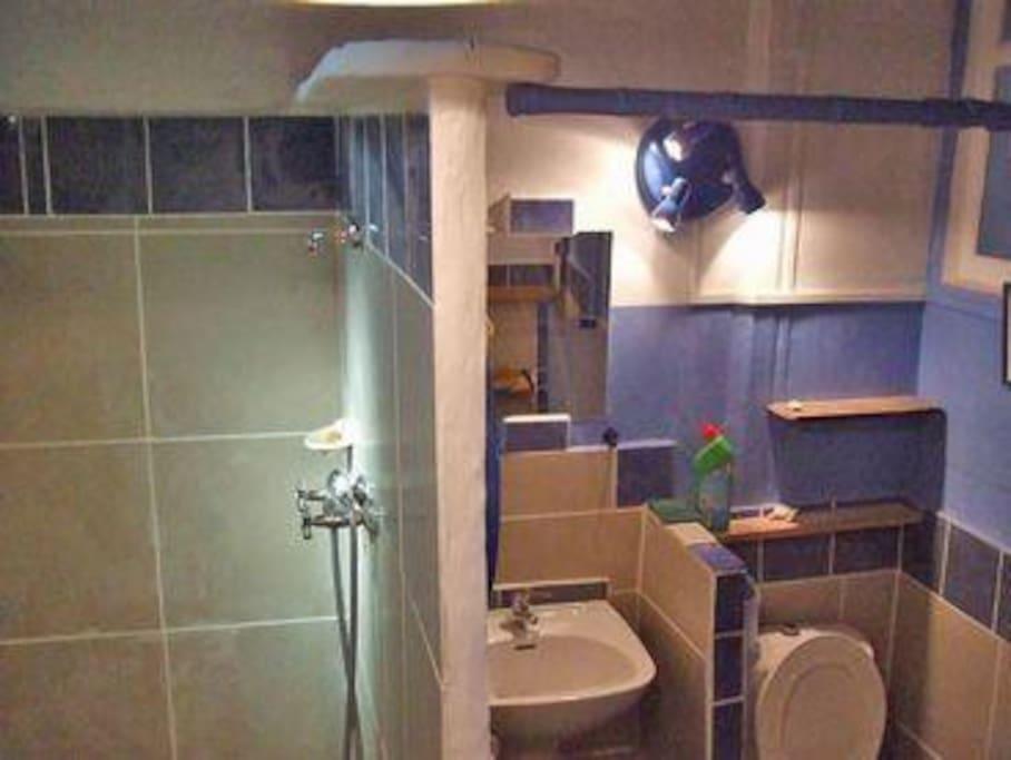 Salle d'eau équipée (douche, lavabo et WC).