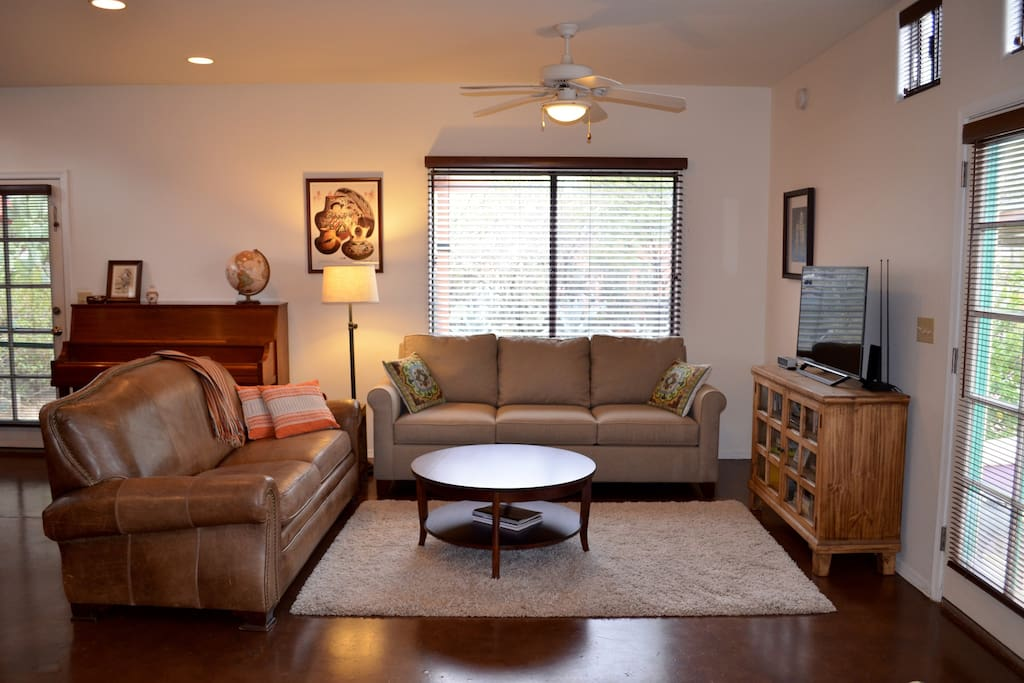 """The living room has a 40"""" TV with Netflix and a queen sleeper sofa."""
