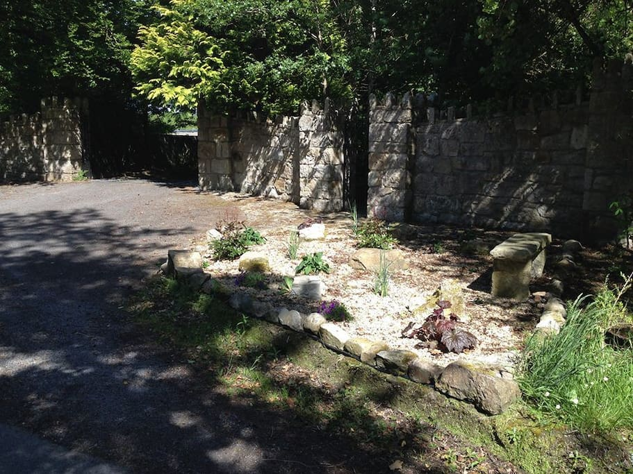 Stone wall entrance to very private property.