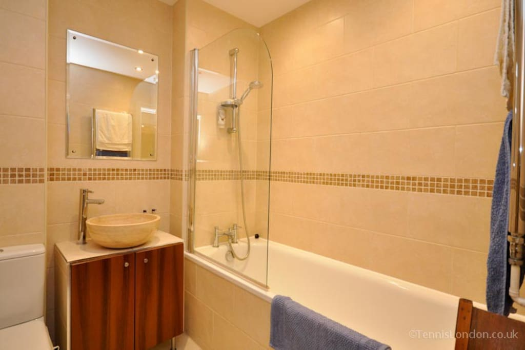 Private bathroom with Shower, Bath, WC, Sink, towels provided