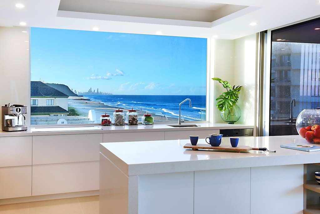 Even the kitchen gets a great beach view facing north