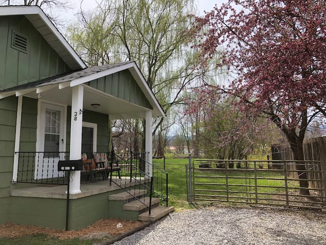 Porch with blooming trees, Weeping Willow and fenced side yard