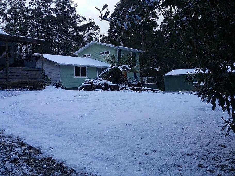When it snows at Tanjil Bren it turns into a winter wonderland.