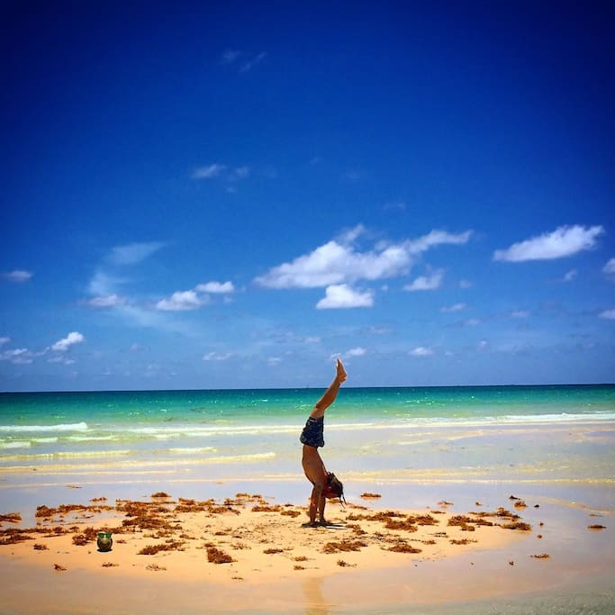 Our beach is filled with sandbars that make you feel like you are on a Caribbean Island. I love practicing yoga out there!