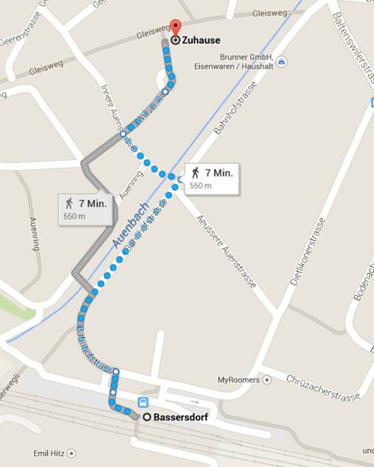 Directions to my Apartment from Bassersdorf Station.