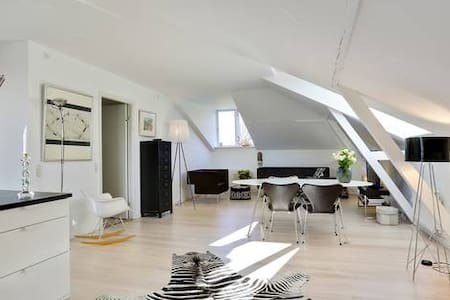The apartment is furnished with Danish design and Italien lamps. The