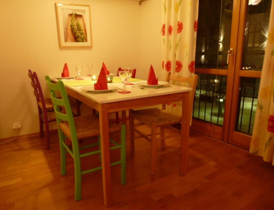 Dining table extended and set for 4.