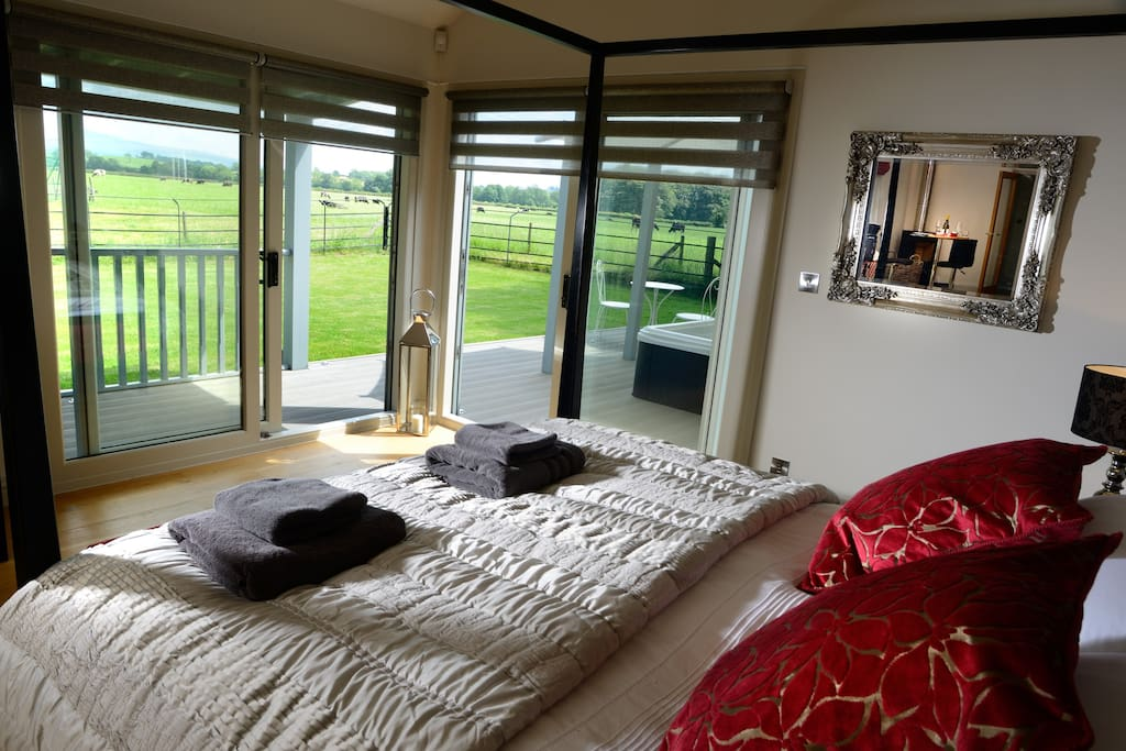 Bedroom with views over to The Yorkshire Dales