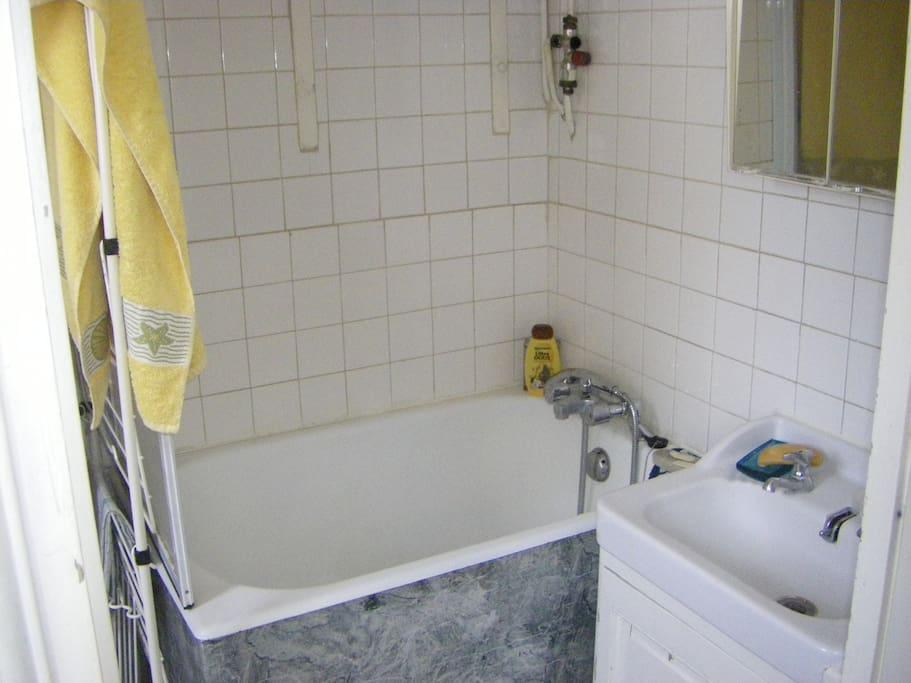 Une salle de bains claire avec baignoire, douche et évier - A bright bathroom with bathtub, shower and sink - Een lichte badkamer met zitbad, douche en wastafel - Ein helles Badezimmer mit Badewanne , Dusche und Waschbecken