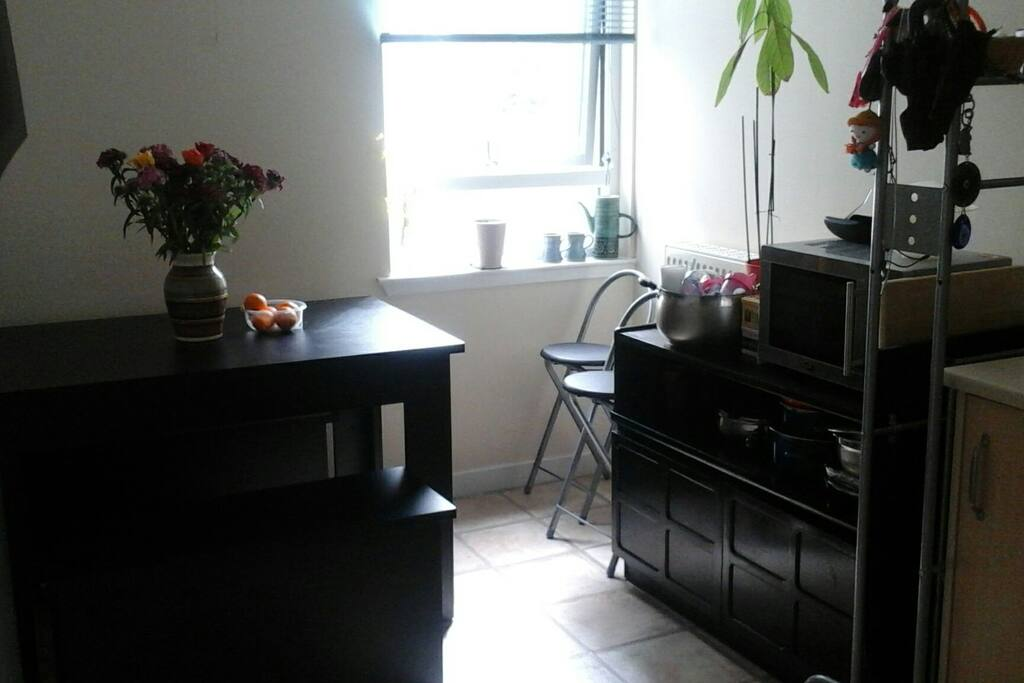 Large kitchen with seating area