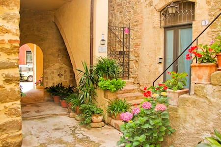 Historical vaulted ceilings in a modern cosy flat situated within the Etruscan walls of the sleepy town of Bettona, the balcony of Umbria, overlooking the valley to Assisi and Perugia with incredible panoramic views. Pets welcome and private garden.