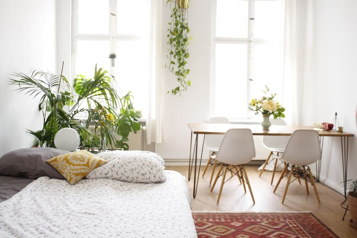 Sunny spacious room in beautiful Altbau Apartment