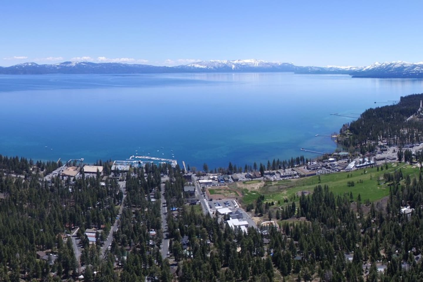 Aerial view of Tahoe City, CA. Walk to the lake.