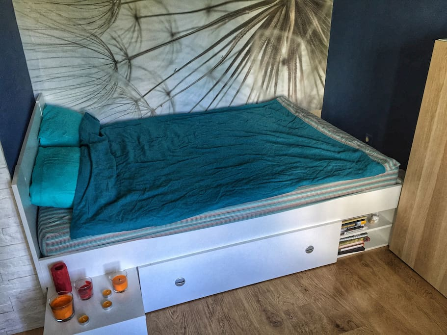 bed for 2 people with orthopedic mattress