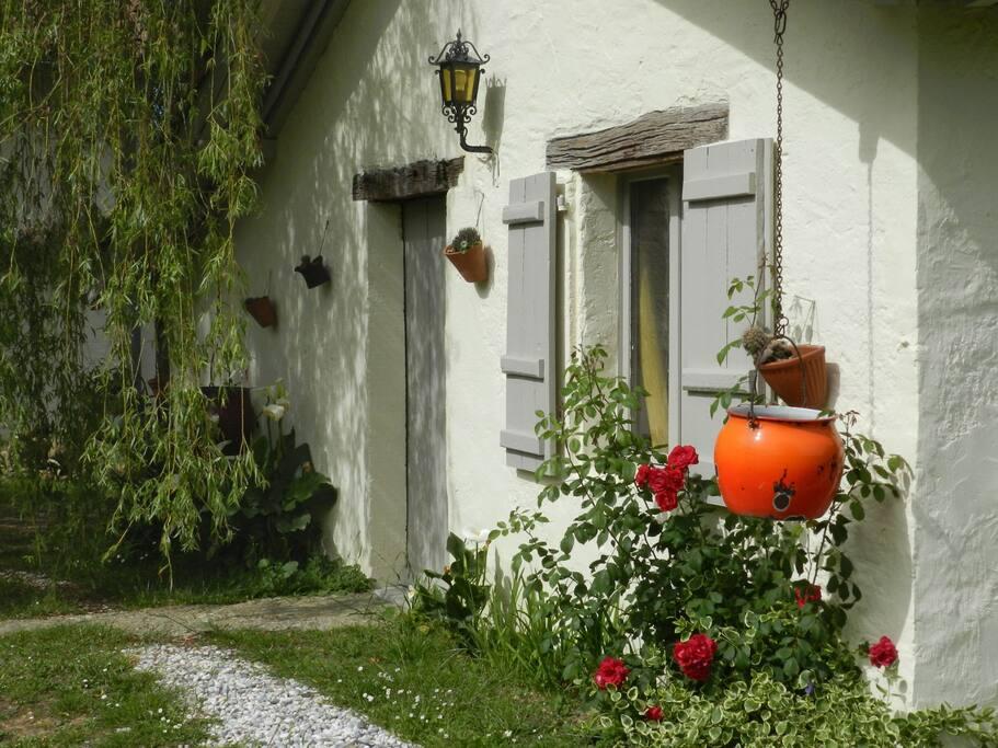 Prettily planted facade