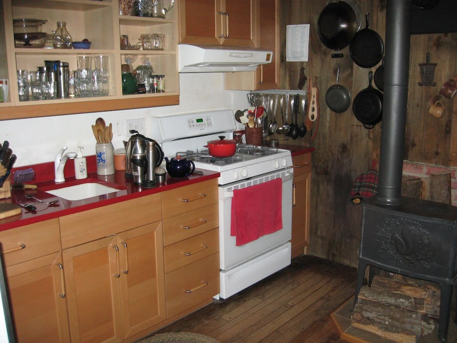 Country kitchen with woodstove