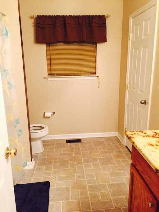 Upstairs bathroom for private bedroom