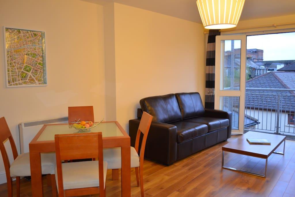 Living area opens onto balcony