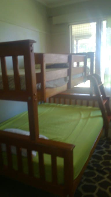 The double bunk in our guest room, single bed at the top and double bed at the bottom.
